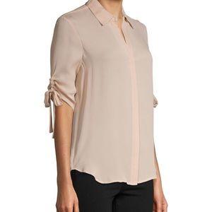 L'Agence Isa Shirred-Sleeve Silk Shirt Petal S